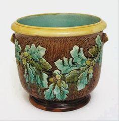 English Majolica Pottery Jardiniere / Planter Oak Tree Acorns - c. 19th Century, England