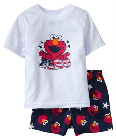 2pcs Girls Boys Baby Kids Top+Pants Shorts Sleepwear Pajamas Outfit Clothes Elmo #TwoPiece