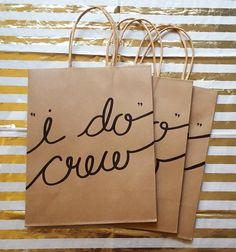 I Do Crew Bachelorette Party Kraft Gift Bags with Handles, Sturdy Bottom, Hand-Lettered, different font color choices