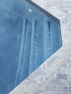 Detail of pool finish (npt midnight blue) , Jeffrey Court Mermaid Lagoon glass waterline tile and tile on steps, right before pool fill. Swimming Pool Steps, Swimming Pool Tiles, Backyard Pool Designs, Backyard Ideas, Backyard Projects, Pool Landscaping, Patio Design, Patio Ideas, Lagoon Pool