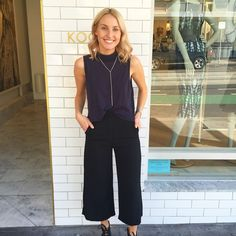 We are loving Ellie in the Lola Top, Tully Necklace and Riviera Culottes