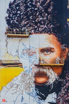 Colossal portrait of Ukranian poet, Shevchenko by Andrey Palval.