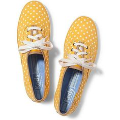 Keds Champion Dot ($25) ❤ liked on Polyvore featuring shoes, sneakers, keds, scarpe, yellow dot, keds footwear, yellow dot shoes, keds shoes and flexible shoes