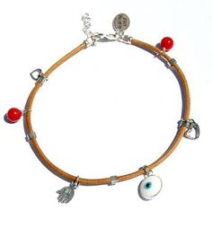 Red Coral and Sterling Silver Charms Protection Kabbalah Anklet By MIZZE -- Visit the image link more details.