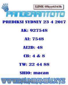 PANGERANTOTO: prediksi pangerantoto togel SYDNEY 23/4/2017