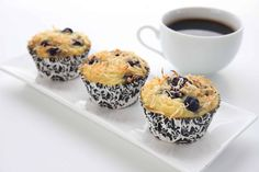 Nut Free, Low Carb Blueberry Coconut Muffins