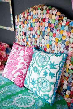 yoyo, headboard, pillow patterns, company picnic, white bedding, scrap fabric, guest rooms, quilt display, girl rooms