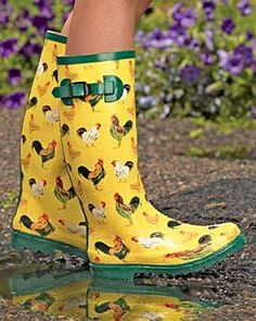 I love chickens. And now I can love chickens on rainboots.