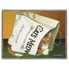 Charles Wysocki | Cat's in Bag | Woven Throw Blanket