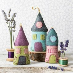 Lavender Uses, Lavender Crafts, Felt House, Felt Embroidery, Felt Applique, Needle Felted, Needle Case, Needle Book, Sewing Basics