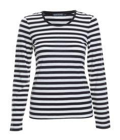Becky Wool Stripe Tee in Black & White   100% wool   Sportscraft