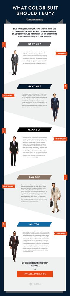 What Color Suit Should I Buy? - Men's Suit Coloring Guide Repin & Follow my pins for a FOLLOWBACK!                                                                                                                                                     More
