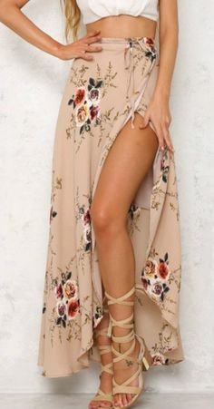 #summer #fashion / slit nude skirt