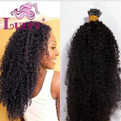 8A Brazilian Virgin Hair Weave Afro Kinky Curly 1g/Strand 100g I Tip Human Hair Extensions For Black Women Natural Color Bundles (14 Inch) -- To view further for this item, visit the image link. (This is an affiliate link) #PersonalCare