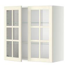 METOD Vægskab med hylder/2 vitrinlåger - Bodbyn råhvid, hvid, 80x80 cm - IKEA