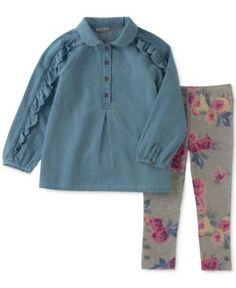 Calvin Klein 2-Pc. Denim Tunic & Leggings Set, Baby Girls (0-24 months) - Blue 24 months