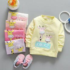 Новая коллекция Весна и осень женская детская одежда новорожденных девочек с длинным рукавом хлопок пуловеры рубашка 369 месяцев Корейский