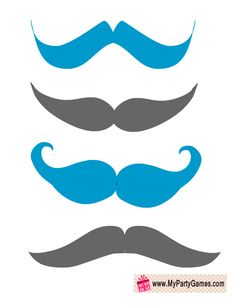 Blue and Grey Moustaches Photo Booth Props