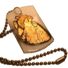 Gold Heart Necklace  Glass Dogtag by flyingcheesetoastie on Etsy, £30.00