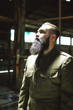 full thick black dark beard and mustache bushy beards bearded man men mens' style military vintage dapper dress hairstyle hair cut barber handsome #beardsforever