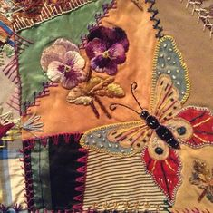 I ❤ crazy quilting & embroidery . . . Elizabeth Parkhurst Williams Crazy Quilt (1884-90) Pansies and Butterfly- A very rare BEAUTY. I love the overall pastel impression & softness of most tones. Although there are many vibrant jewel tones as well. All the loving artistic needlework embroidery of Mary Beatrice. Special dates, initials, musical notes on a scale, blessings symbols, cupid's hearts, roses, tulips, sunbursts, ferns & so many other interesting floral & geometric stitches.