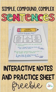 These simple, compound, and complex sentence interactive notes and practice sheet are the perfect tool to use in your elementary classroom. They can be cut and glued into interactive notebooks or used as an anchor chart. Teaching 5th Grade, Teaching Social Studies, Teaching Writing, Teaching History, Simple And Compound Sentences, Complex Sentences, Writing Sentences, Free Teaching Resources, Writing Resources