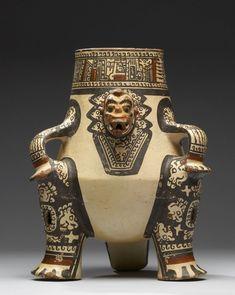 Shaman Effigy Vessel; Guanacaste-Nicoya, earthenware, white slip overall, slip paint, circa AD 1000-1350 (late Period VI)