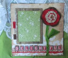 """Fabric and lace flower premade scrapbook page- """"Delightful"""" - from ALittleLemonadeStand.etsy.com"""