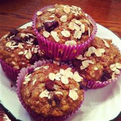Seminary Muffins Recipe - would make several health substitutions: honey for brown sugar, whole wheat flour (or g-free flour) for AP flour, and mix of dried fruit (diced apricots, raisins, craisins, blueberries) instead of choc chips. Good breakfast tho.