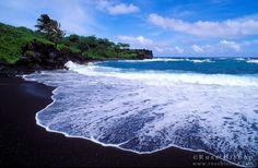 Hana, Maui  - black sand beach