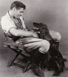 Clark Gable & his Irish setter. Irish Setter dog art portraits, photographs, information and just plain fun. Also see how artist Kline draws his dog art from only words at drawDOGS.com #drawDOGS http://drawdogs.com/product/dog-art/irish-setter-two-dog-portrait-by-stephen-kline/ He also can add your dog's name into the lithograph.