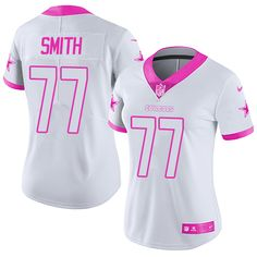 Nike Dallas Cowboys Women's #77 Tyron Smith Limited White/Pink Rush Fashion NFL Jersey