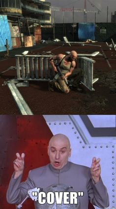 Taking cover in video games. not quite what it's made up to beYou can find Video game humor and more on our website. Video Game Logic, Video Game Quotes, Video Games Funny, Funny Games, Funny Gaming Memes, Gamer Humor, Stupid Funny Memes, Hilarious, Max Payne 3
