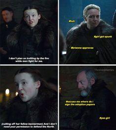 Game of thrones season 7 funny humour meme EP. Lyanna Mormont, Brienne of Tarth, Ser Davos Seaworth Game Of Thrones Facts, Got Game Of Thrones, Game Of Thrones Quotes, Game Of Thrones Funny, Game Of Thrones Cosplay, Daenerys Targaryen Cosplay, Khaleesi, Jon Snow, The North Remembers