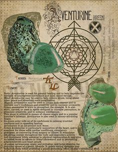 Green Aventurine, Book of Shadows printable page. Wiccan Spell Book, Wiccan Spells, Crystals And Gemstones, Stones And Crystals, Grimoire Book, Green Witchcraft, Herbal Magic, Crystal Magic, Green Aventurine