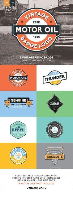 8 Vintage Retro Badge