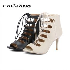 2017 New Casual Lace-Up Gladiator Sandals Big Size 11 12 Solid Sexy Thin Heels women shoes woman ladies womens
