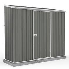 x Grey Pent Roof Metal Garden Shed - Easy Build - Grey - By Waltons - Garden Rattan Furniture Metal Shed, Metal Roof, Garden Storage Shed, Storage Sheds, Garden Sheds, Plastic Sheds, Sheds For Sale, Bike Shed, Lean To