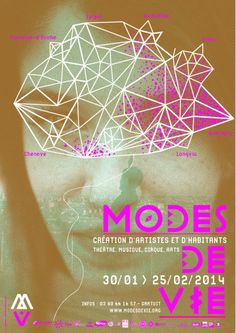 Festival Modes de Vie 2014, Création d'artistes et d'habitants.  This is so good. The color is perfect.  love the purple. The typeface is really strong and adds a lot of personality to the poster.