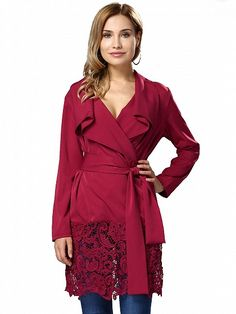 Red Lapel Lace Panel Belted Trench Coat   Choies - statement coat
