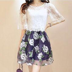 De las mujeres de la impresión floral del vestido de la manga del cortocircuito de la envoltura delgada Splice - USD $ 30.09