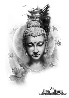 Buda con un templo de fondo. Detalles de hojas y flores de loto cayendo y en movimiento con el viento. #santcugat #deysitattoostudio #deysitattoo www.deysitattoo.com citasdeysitattoo@gmail.com tlf: 639 327 919 #ideatattoo #ideastatuajes #budha #sakura #japonesa