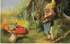4970 ART SIGNED SCHONIAN FROG GNOME FUNGUS FUNGI MUSHROOMS SETAS POSTCARD