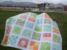 vintage quilt and up house