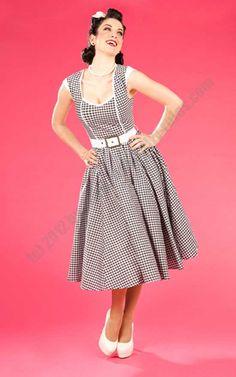 Dress Catalina-Lou - black white checkered