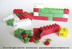 Adorable handmade Lego advent calendar. The boxes would make cute goodie boxes @ children's parties.