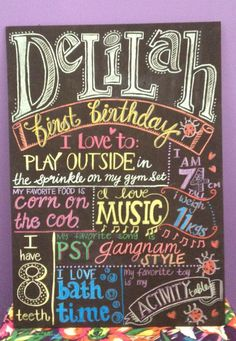 Children's Birthday Chalkboard Sign NAME Birthday Pins, Birthday Board, Baby Birthday, First Birthday Parties, First Birthdays, Birthday Ideas, Chalk It Up, Chalk Board, Chalkboard Signs