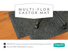 Protect your carpets, laminates and vinyl flooring from attrition with a Castor Mat. Vinyl Flooring, Carpets, Tips, Farmhouse Rugs, Rugs, Vinyl Floor Covering, Counseling