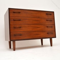 Antiques Atlas - Danish Rosewood Chest Of Drawers Kai Kristiansen Small Chest Of Drawers, Vintage Chest Of Drawers, Dresser Drawers, Danish Furniture, Scandinavian Modern, Modern Materials, Storage Cabinets, Danish Design, Kai