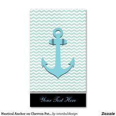 Nautical Anchor on Chevron Pattern Business Card